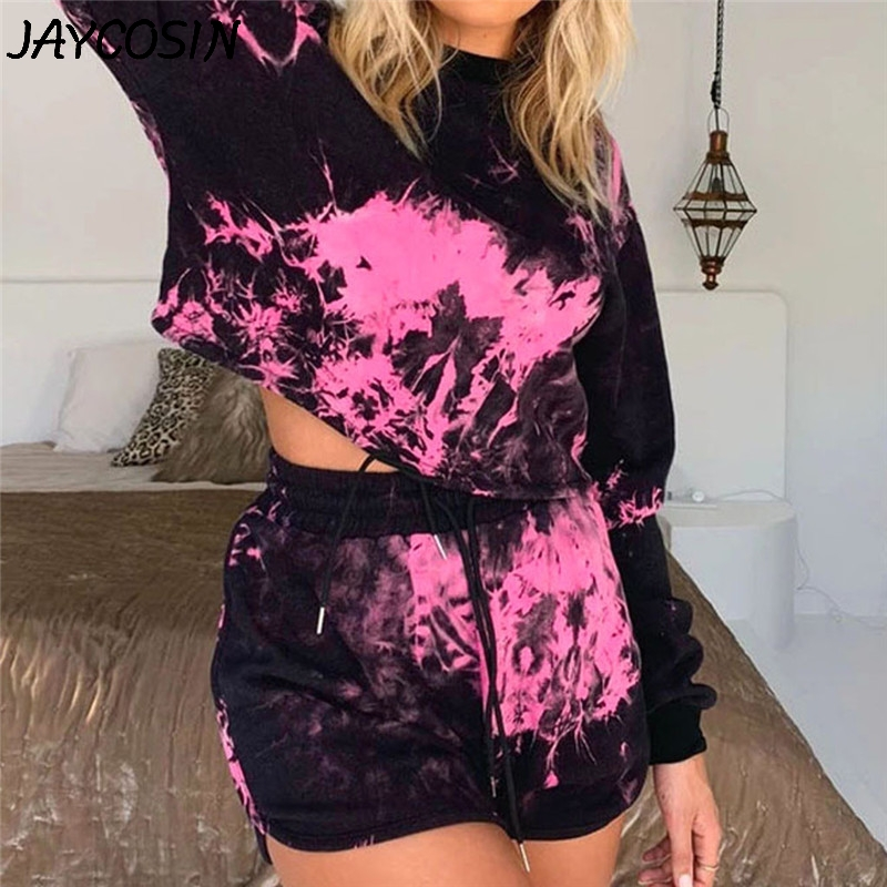 JAYCOSIN Tracksuit Women Floral Print Tie-dye O-Neck Long Sleeve Lumbar Tops Short Pants Set 2 Piece Set Sportswear Women Suits