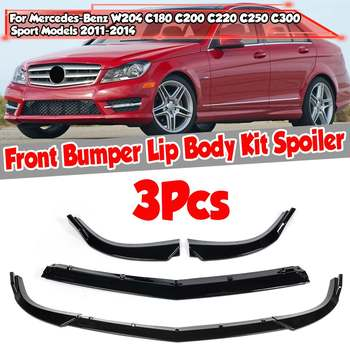 3piece W204 Car Front Bumper Splitter Lip Spoiler Diffuser For Mercedes For Benz C CLASS W204 C180 C200 C220 C250 C300 2011-2014 image