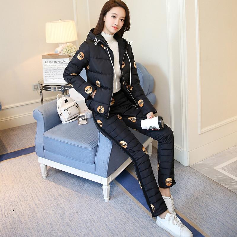 Tracksuit Women 2019 Winter Real Fur Collar Hooded Cotton Jacket Coat+pants Suits Female Down Cotton 2 Piece Women Set Plus Size