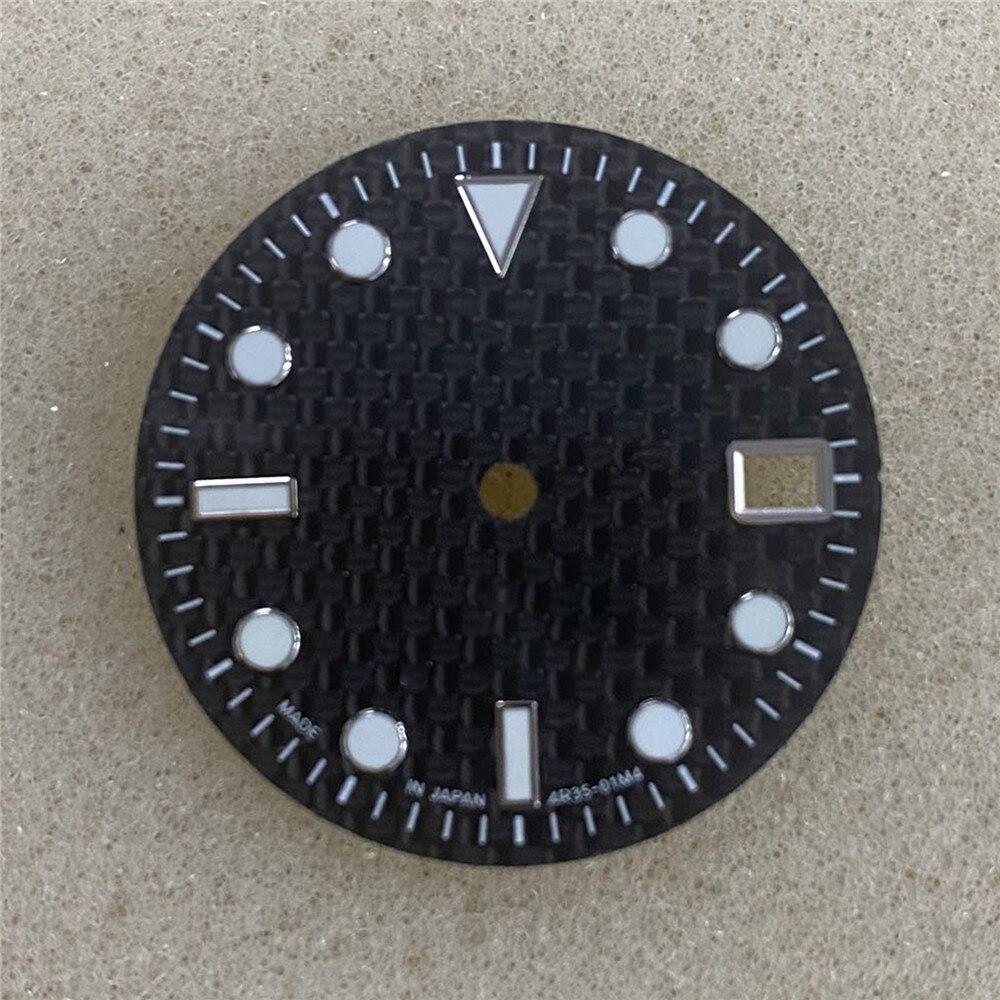 29MM Carbon Fiber Watch Dial Green Luminous for NH35/4R36 Watch Movement Modification Part