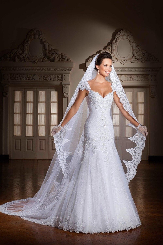 2014 Nova Juliet Neckline Appliqued Beaded Mermaid Wedding Dresses