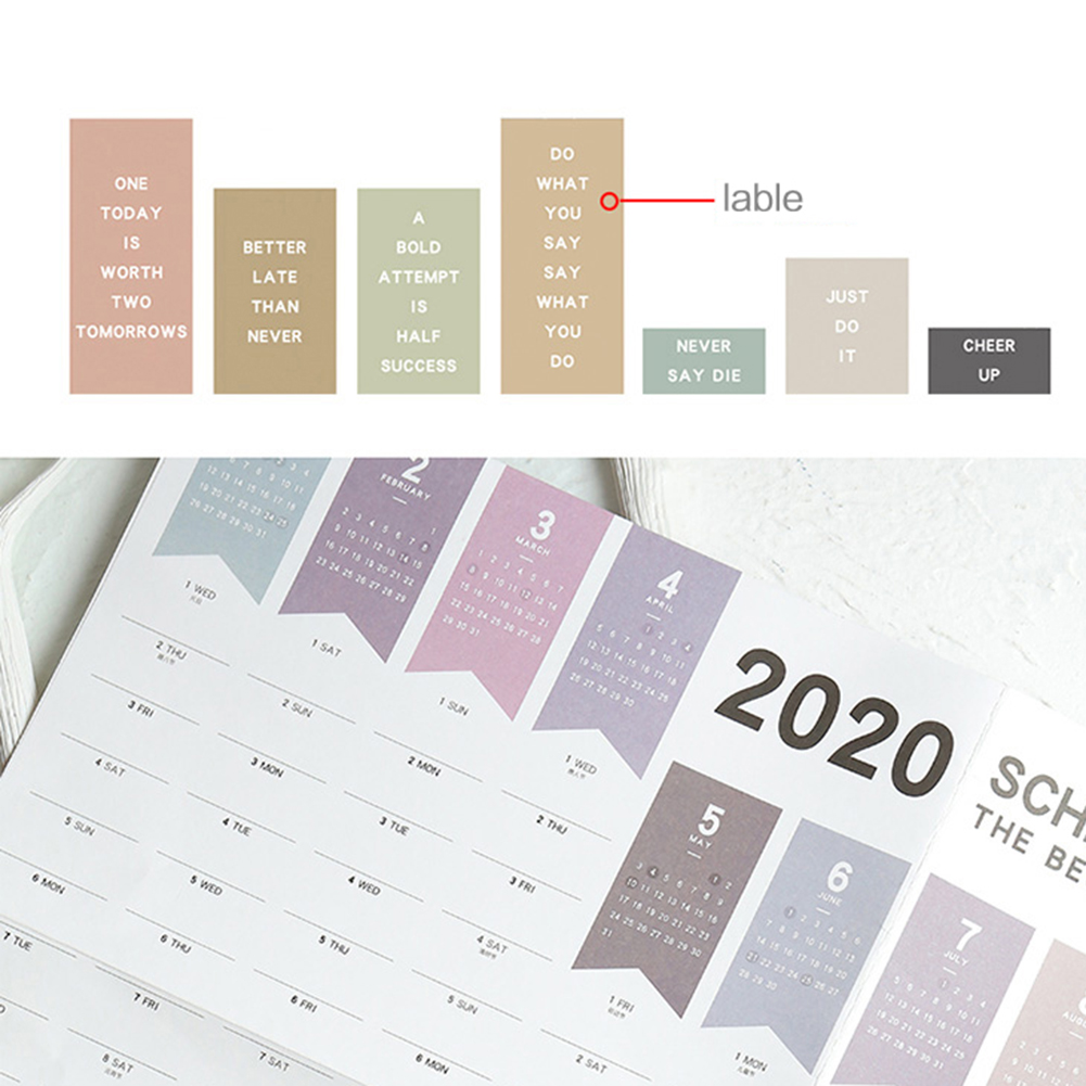 52x76cm Paper Wall Calendar Daily Planner Notes Large Study TO DO LIST School Supplies 2020 365days