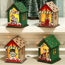 Christmas Gift Decorations Wooden House Childrens DIY Pendant Tree Decoration  Ornaments Navidad