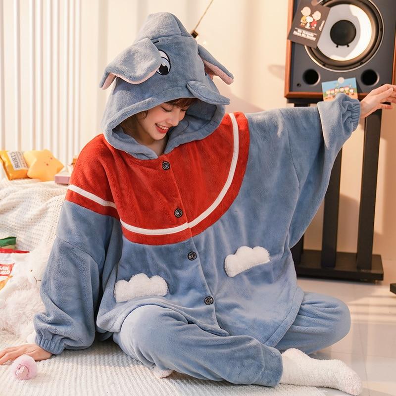 Flannel Pajamas Winter Pyjamas Intensification Loose Version Hooded Batwing Coral Fleece Nightgown Women Sleepwear Keep Warm