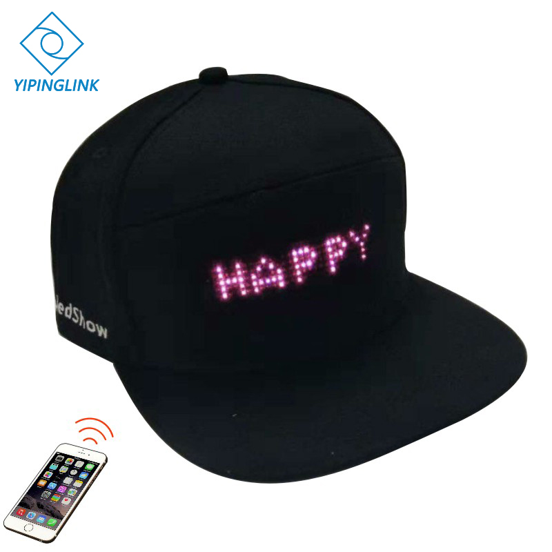 Bluetooth Hiking Led Hat Dance Party  Event Advertising Led Hat 5*36 Pixels Wearable Led Display Fishing Running Cap Hat