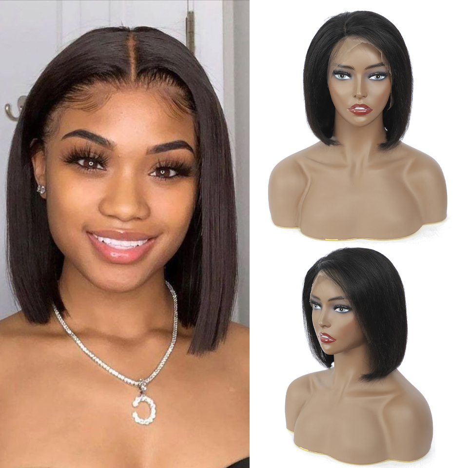 13x4 Bob Lace Front Wigs Short Bob Wig 8-14Inch with Bangs Lace Front  Wigs Pre Plucked 4x4 Lace Closure Bob Wigs 4