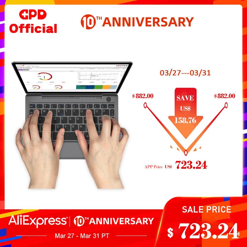 Gpd p2 max mini computador portátil ultrabook magro computador netbook 16 gb + 512 8.9 Polegada ips tela de toque intel core m3-8100Y windows 10