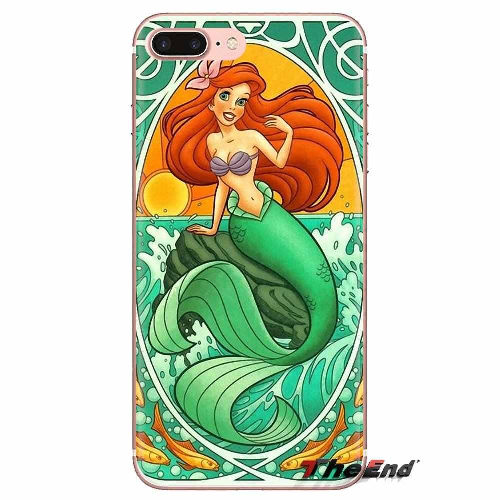 Untuk Samsung Galaxy S3 S4 S5 Mini S6 S7 Edge S8 S9 S10 Plus Catatan 3 4 5 8 9 kaca Patri Ariel Little Mermaid Telepon Cover Housing