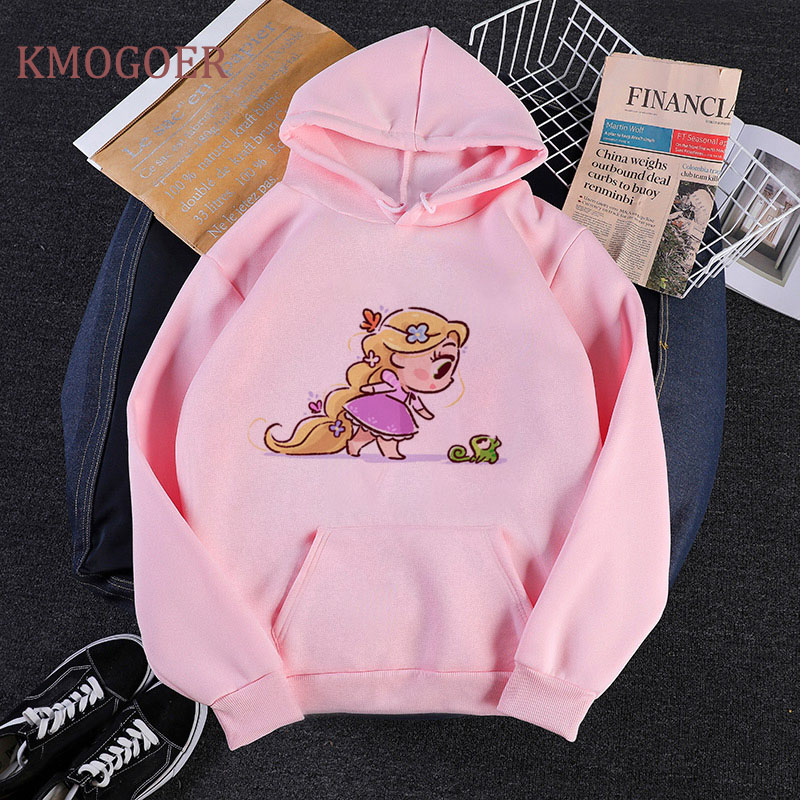 Little Princess Kawaii Print Harajuku Hoodies Women Pullover Rapunzel With Pascal Megara Merida Cute Long Sleeve Lady Sweatshirt