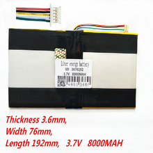 5 thread Tablet PC battery capacity 3676192 3.7V 8000MAH Universal Li-ion  for tablet pc 9 inch 10 11