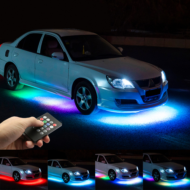 Niscarda Music Remote Control RGB LED Strip Under Car Tube Underglow Underbody System Neon Light DC12V IP65 5050 SMD
