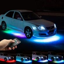 Niscarda 음악 원격 제어 RGB LED 스트립 자동차 튜브 Underglow Underbody 시스템 네온 불빛 DC12V IP65 5050 SMD
