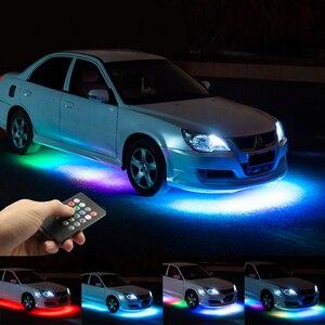 Image 1 - Niscarda музыкальный пульт дистанционного управления RGB Светодиодная лента под автомобиль труба подсветка Нижняя Система неосветильник DC12V IP65 5050 SMD