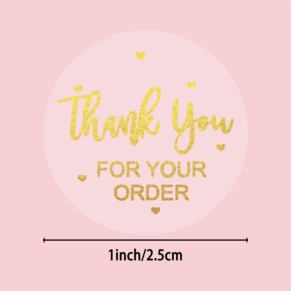 500 Pcs/roll Thank You for Your Order Stickers Transparent Gold Foil Stickers 1 Inch Handmade Scrapbooking Stationery Stickers