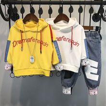 EACHIN Baby Boys Set Autumn Children #8217 s Hoodies Sweater Suit Boys Clothing Sets Long Sleeve Letter Sweater+Black Trend Jeans 2Pcs cheap Fashion Hooded Pullover B00198 Cotton Full Regular Fits true to size take your normal size Vest