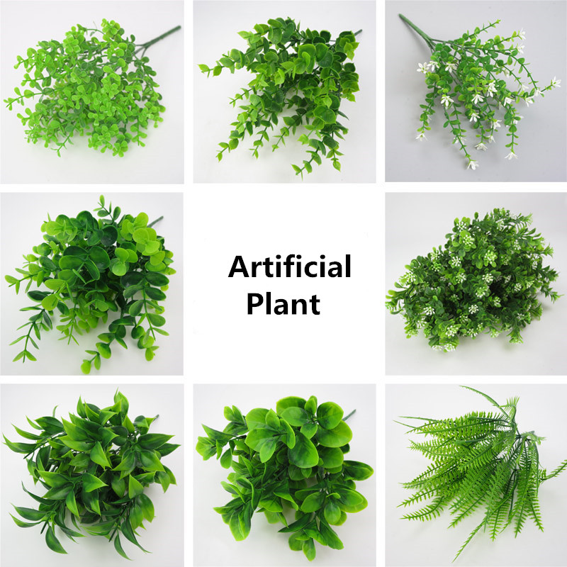 1pc Fake Plants Fern Grass Wedding Wall Outdoor Decor Green Leaf Artificial Flowers Plastic Plant For Home Garden Decoration