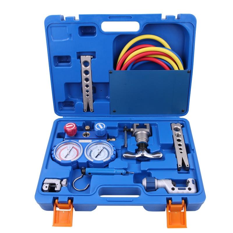 VALUE VTB-5B Combination Toolbox  Manifold Gauge Set Flaring Chamfer Cutter Refrigeration Integrated Flaring Tool Kits