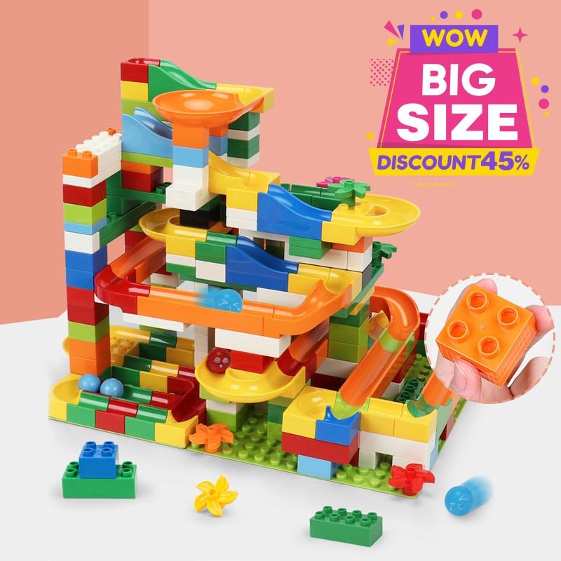 52-172PCS Big Size Marble Race Run Blocks Compatible Duploed Maze Ball Track Building Blocks Funnel Slide Bricks Toys