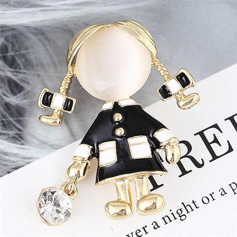 Hitam Enamel Pakaian Gadis Cantik Bros Korsase untuk Wanita Wanita Kerah Broch Pin Angka Pin Bros Aksesoris Dekoratif
