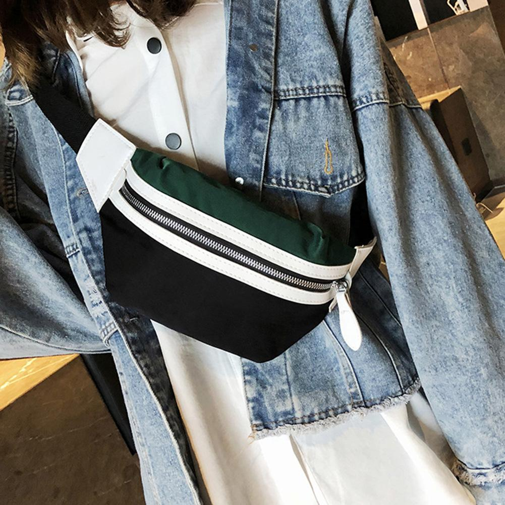 Canvas Fanny Pack Waist Bag Belt New Brand Bag For Belt Women Waist Pack Contrast Color Chest Bag Phone Pouch Belly Bag