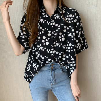 White Blouse Short Sleeve Casual Sunflower Print Blouse Turn Down Collar Lady Office Shirt Casual Loose Tops Plus Size Blusas cotton long shirt fashion plaid turn down collar full sleeve office lady autumn women blouse plus size casual blusas student top