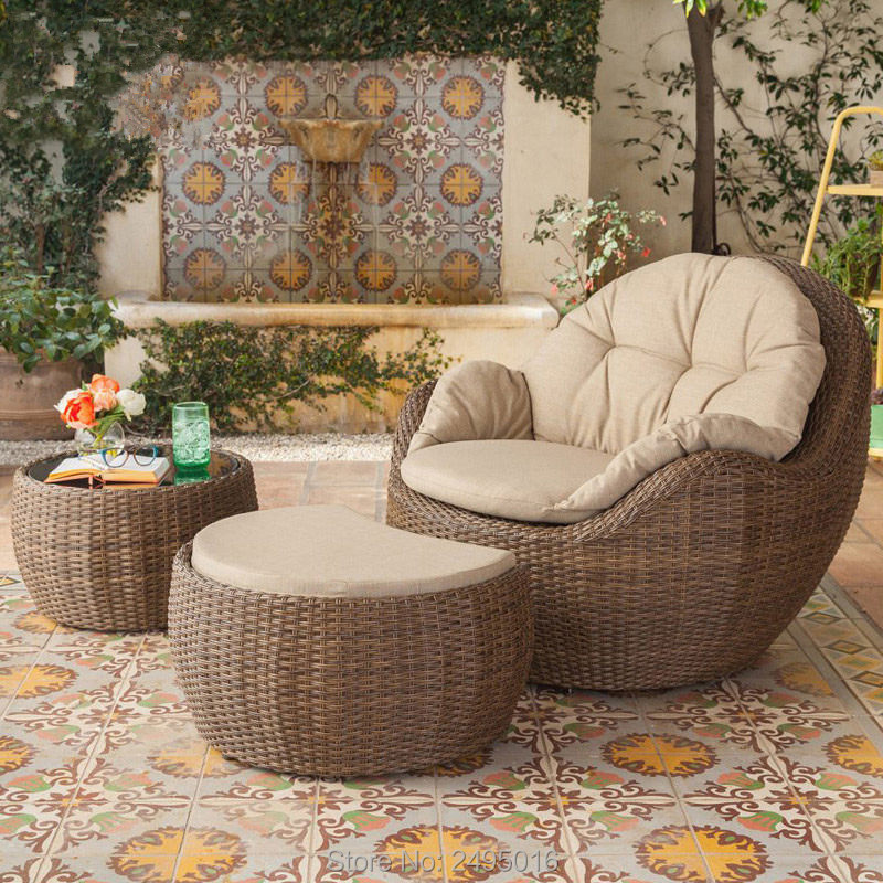 3pcs / Set Leisure Chair With Coffee Table PE Wicker Outdoor Furniture Patio Aluminum Coffee /tea  Set For Balcony