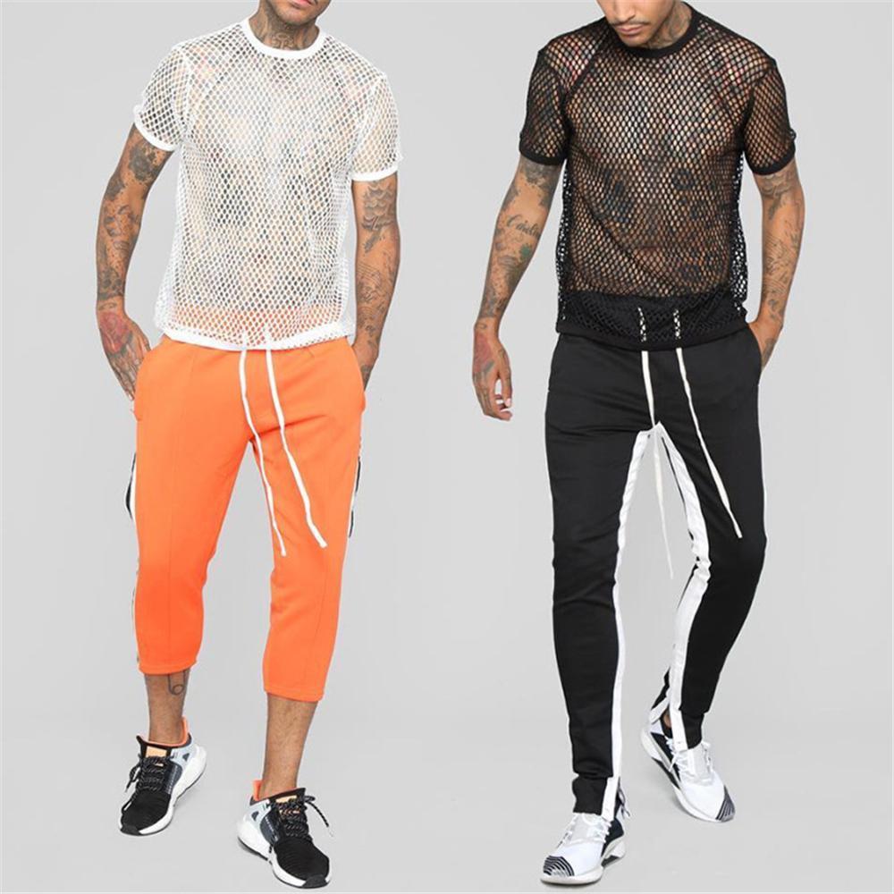 Summer Men Sport T shirt Top Trend Mens Mesh Round Neck Jersey Short-sleeved Thin T-shirt Shirt Outdoor Running