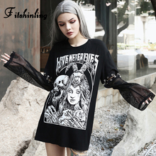 Fitshinling Mesh Patchwork Harajuku Autumn Womens T-Shirts Long Tops Gothic Skull Print Punk Cool Dark Female T-Shirt 2019 New