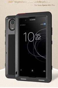Image 2 - Etui na całe ciało do Sony Xperia XA1 Plus Ultra XZ XZ1 XA2 XA Ultra 2, odporna na wstrząsy metalowa osłona na zbroję do Sony XA Case + szkło Gorilla
