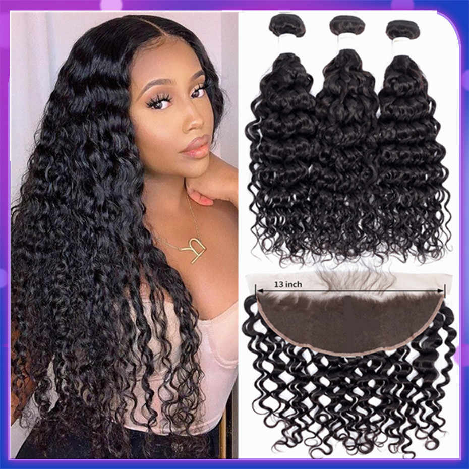 bling hair Brazilian Water Wave Hair Bundles with Closure 13x4 Lace Frontal Remy Human Hair Bundles With 4x4 5x5 Lace Closure