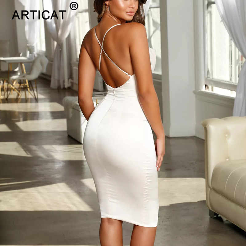 Articat サテンストラップレスボディコン包帯ドレススパゲッティストラップ背中のサマードレス 2019 カジュアルビーチドレス Vestidos