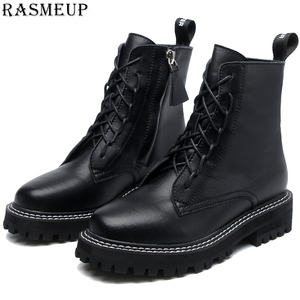 RASMEUP Plus Size Genuine Leather Women's Platfom Ankle Boots 2020 Fashion Women Winter Warm Chunky Shoes Lady Casual footwear