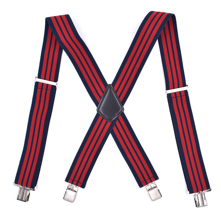 Cross Border Supply Of Goods Adult X 4 Clip Men Suspender Strap 5CM Si Jia Dark Blue Red Stripes Currently Available