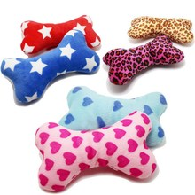 купить Cute Strip Plush Pet Dog Cat Sound Squeakers Squeaky Toy for Small Dog Puppy Chew Play Bone Toy Pet Product по цене 47.52 рублей