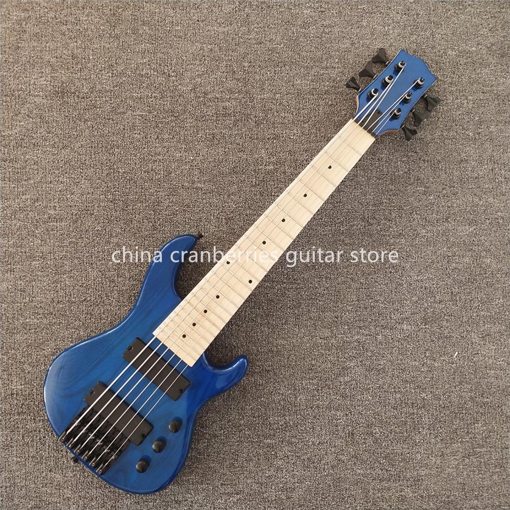 Mini guitare basse ukelele 6 cordes, guitare électrique bleue transparente, corps en bois de cire, touche érable, livraison gratuite