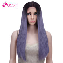 цена на Classic Plus Ombre Synthetic Lace Front Wig Long Straight Hair Colored Wigs For Women Purple Pink Blue Ash Blonde Lace Front Wig