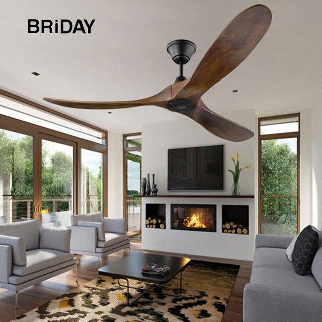 56 60 inch DC ceiling fan industrial vintage wooden ventilator with no light Remete control decorative blower wood retro fans