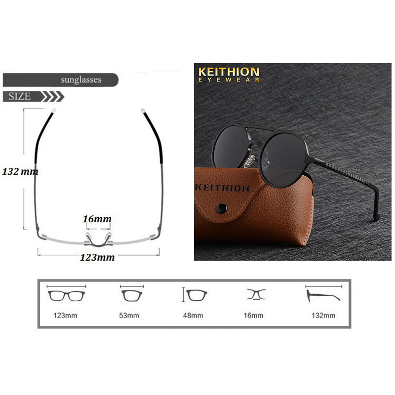 Image 2 - KEITHION Designer Steampunk Sun glasses Female Retro Aluminum magnesium Sunglasses Men Round Sunglasses Polarizes oculos de solMens Sunglasses   -