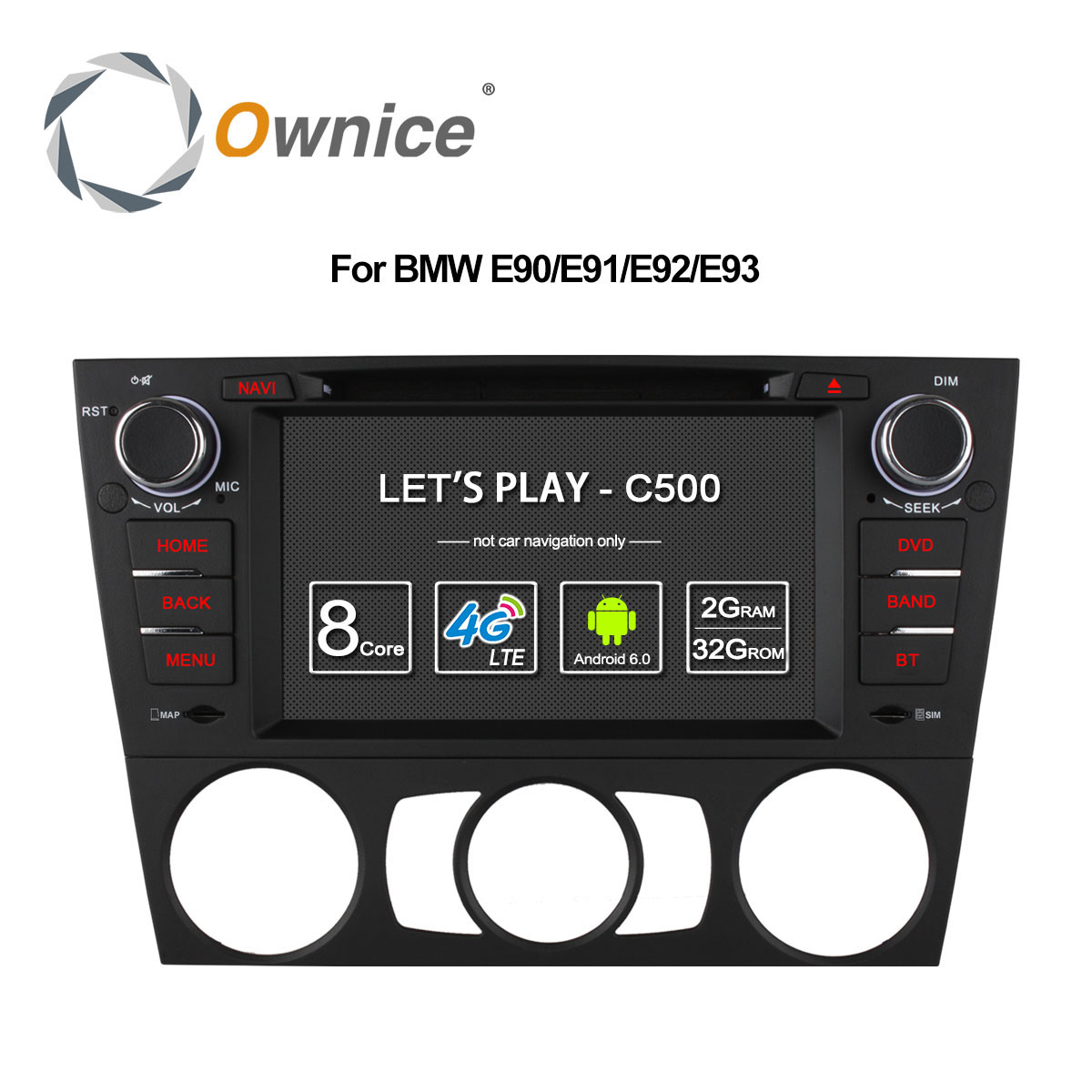 Ownice C500 4G SIM LTE Android 6.0 Octa 8 Core Car DVD For BMW 3 Series E90 E91 E92 E93 GPS Support Wifi Radio 2GB RAM 32GB ROM image