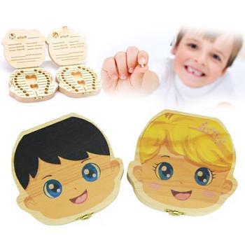 Wooden Baby Tooth Box English /Spanish /Portuguese Milk Teeth Umbilical Organizer Storage Boys Girls Souvenir Case Gifts
