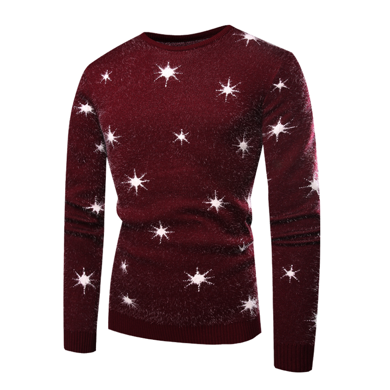 2019 Winter Fashion Star Print Hand Knitting Sweater Patterns Good Quality O-neck Mens Pullover Sweaters