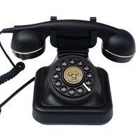 버튼 다이얼 전화 레트로 구식 유선 전화 클래식 금속 벨  유선 전화 홈 오피스  블랙