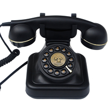 Button Dial Telephone Retro Old Fashioned Landline Phones with Classic Metal Bell, Corded Phone for Home Office, Black
