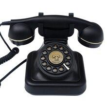 Button Telefoonlijn Retro Ouderwetse Vaste Telefoons met Klassieke Metalen Bel, Vaste Telefoon voor Thuis Kantoor, Zwart