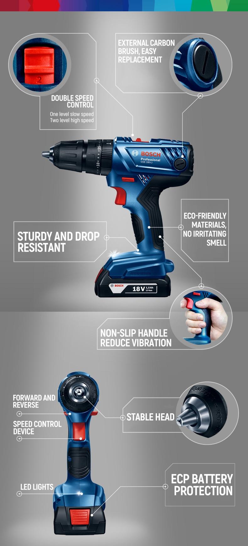 Bosch Cordless Electric Drill Driver 18V Max 50N.m
