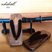 Летние мужские тапочки whoholl geta шлепанцы деревянные искусственная