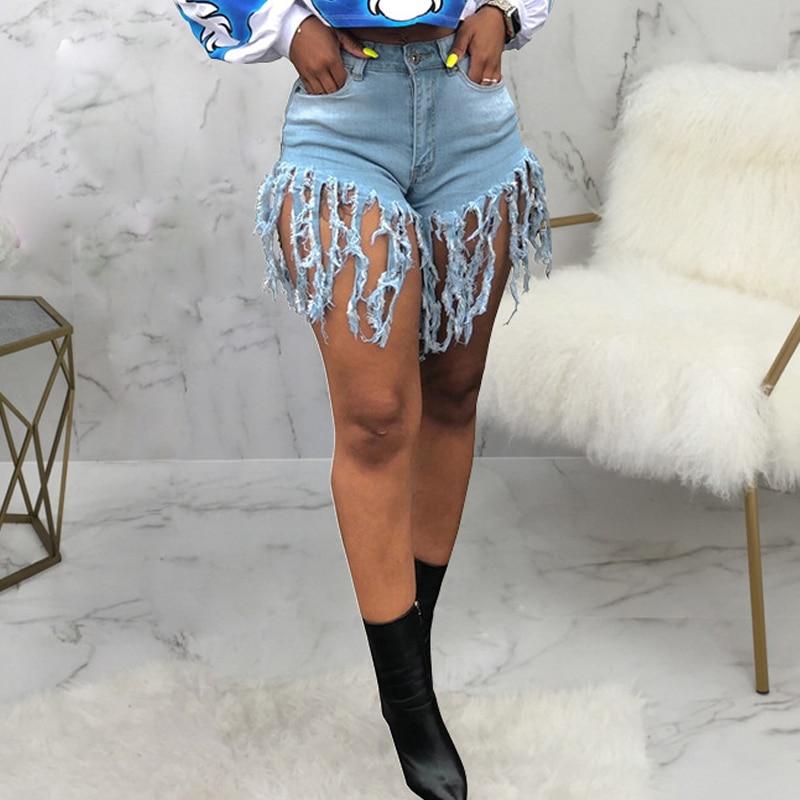 Tassel Sexy Elastic Jeans Shorts Women Summer High Waist Cotton Jean Short Plus Size Denim Shorts 2020