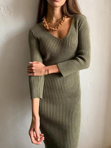 Sweater Dresses Sheath Wrapped-Knitted V-Neck Bodycon Knee-Length Female WOTWOY Autumn