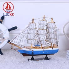 LUCKK 30CM Handmade Vintage Wooden Sailing Boat Model Home Decor Marine Wood Crafts Miniature Furnishing Nautical Figurine Gifts