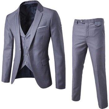 3 Pieces Business Blazer +Vest +Pants Suit Sets Men Autumn Fashion Solid Slim Wedding Set Vintage Classic Blazers Male Suit